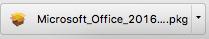 MacでOffice365 Solo無料お試し版(体験版)をダウンロードしたファイルMicrosoft_Office_2016…pkg