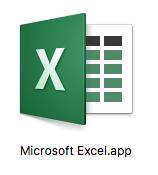 MacにインストールしたMicrosoft Office365 Solo無料お試し版(体験版)のエクセル2016のアイコン